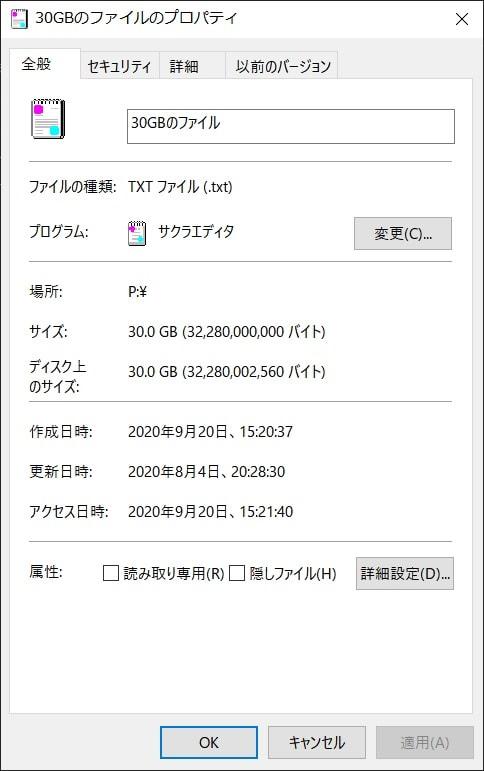 30GBのファイル